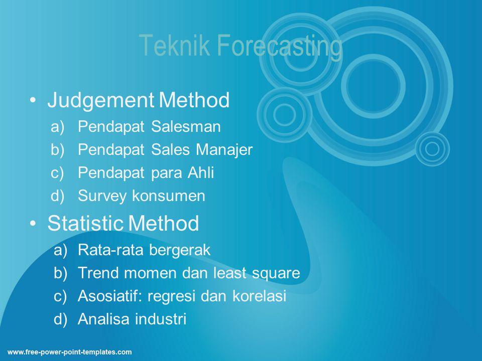 Teknik Forecasting Judgement Method Statistic Method Pendapat Salesman