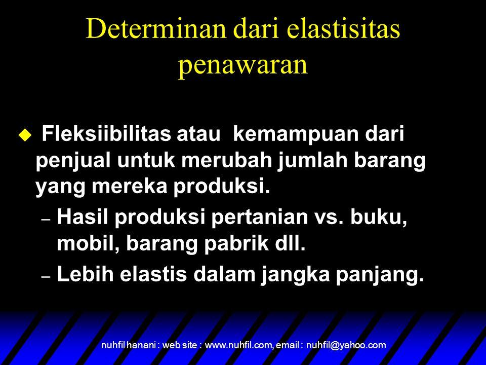 Determinan dari elastisitas penawaran
