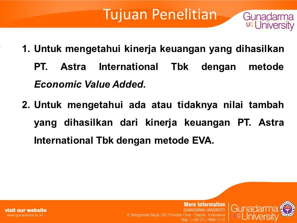 Tujuan Penelitian Untuk mengetahui kinerja keuangan yang dihasilkan PT. Astra International Tbk dengan metode Economic Value Added.