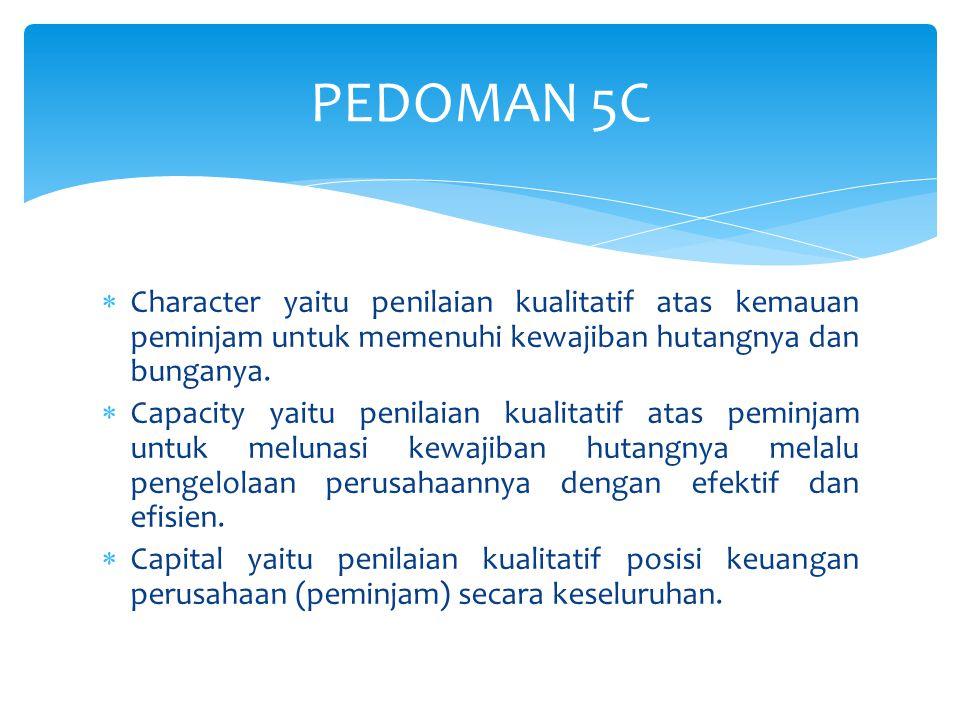 PEDOMAN 5C Character yaitu penilaian kualitatif atas kemauan peminjam untuk memenuhi kewajiban hutangnya dan bunganya.