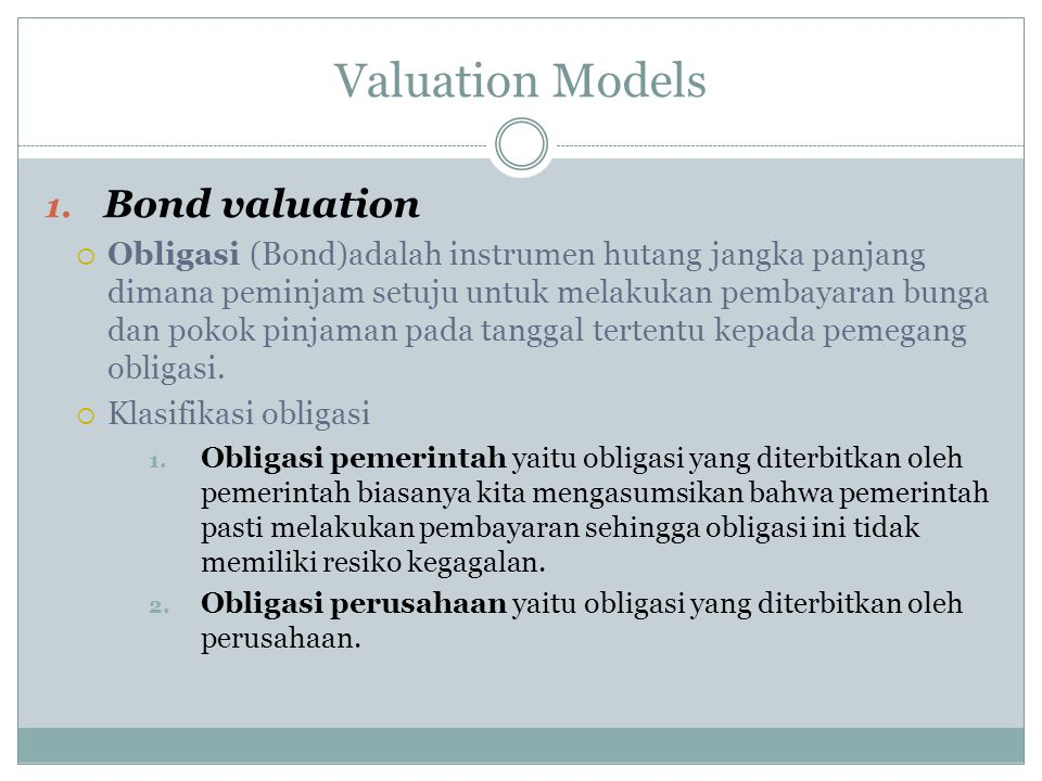 Valuation Models Bond valuation