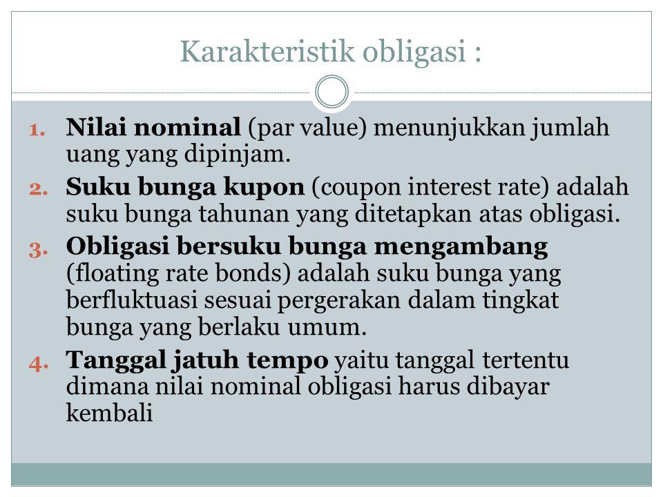 Karakteristik obligasi :