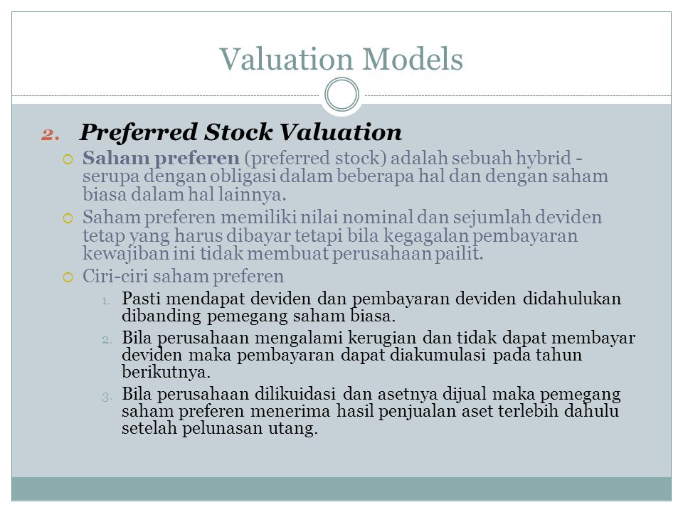 Valuation Models Preferred Stock Valuation
