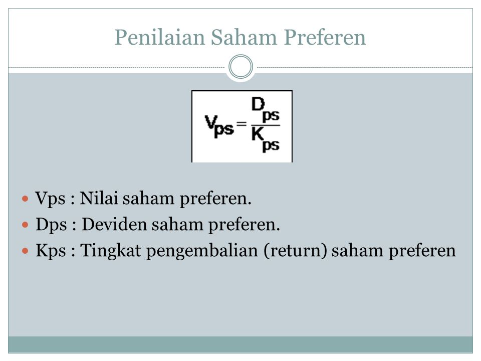 Penilaian Saham Preferen