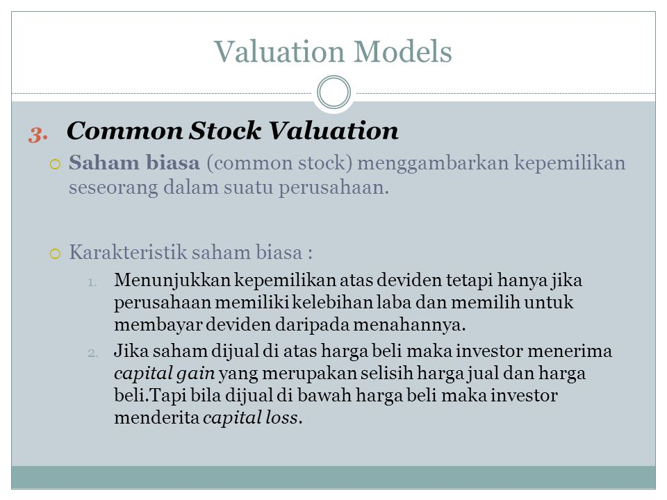 Valuation Models Common Stock Valuation