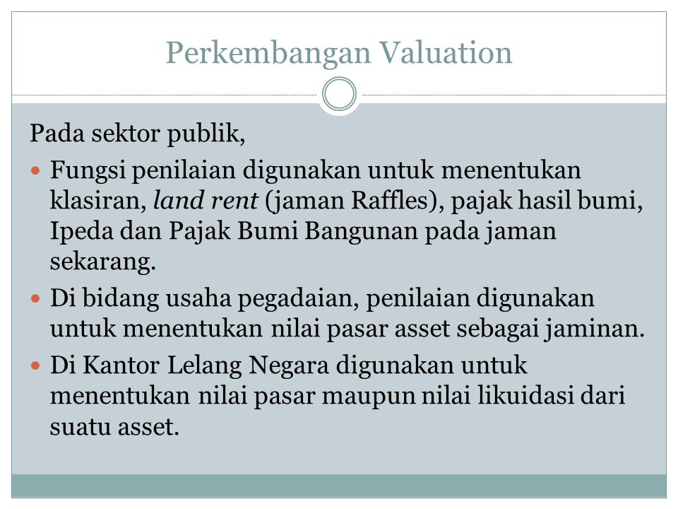 Perkembangan Valuation