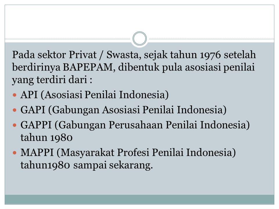 Pada sektor Privat / Swasta, sejak tahun 1976 setelah berdirinya BAPEPAM, dibentuk pula asosiasi penilai yang terdiri dari :
