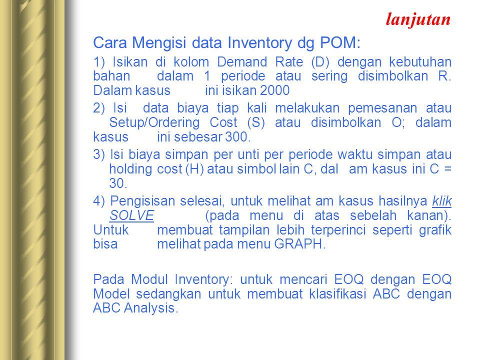 lanjutan Cara Mengisi data Inventory dg POM:
