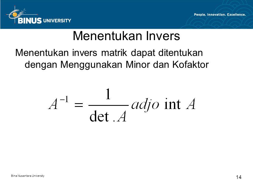 Menentukan Invers Menentukan invers matrik dapat ditentukan dengan Menggunakan Minor dan Kofaktor.