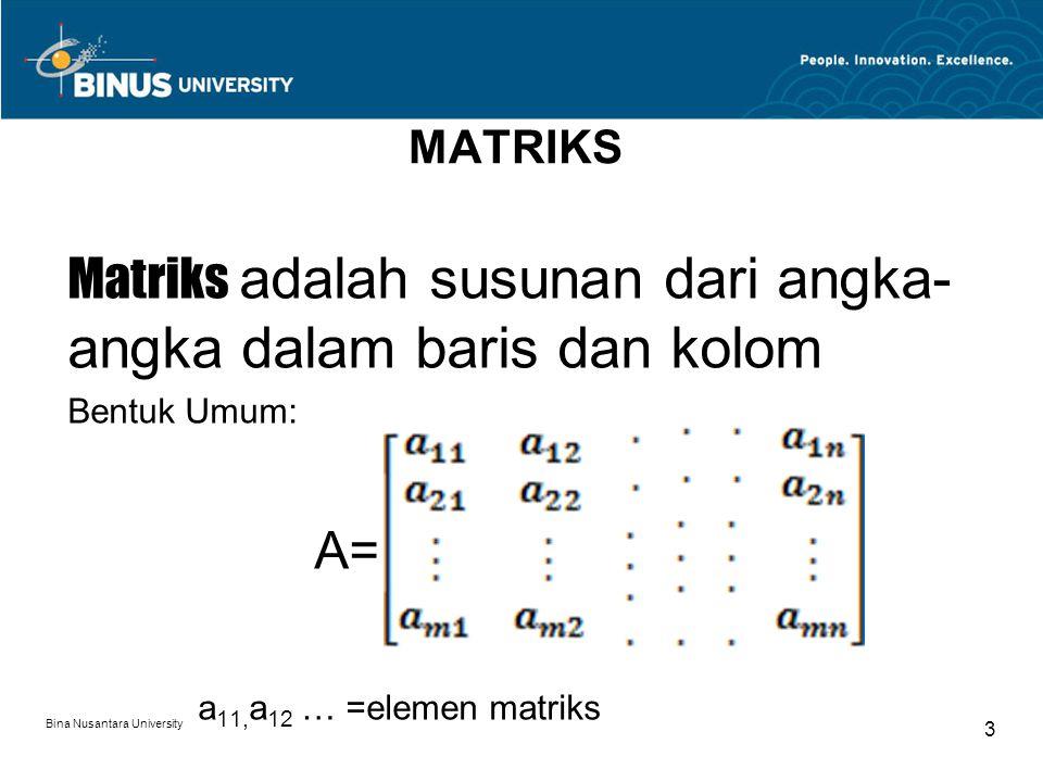 Matriks adalah susunan dari angka-angka dalam baris dan kolom