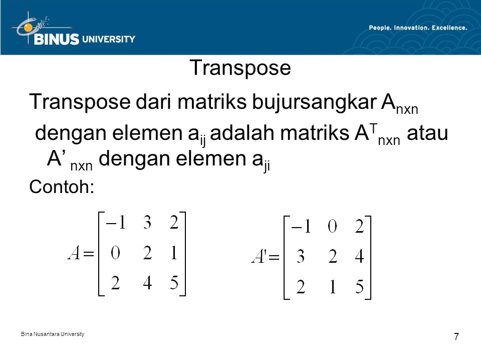 Transpose dari matriks bujursangkar Anxn