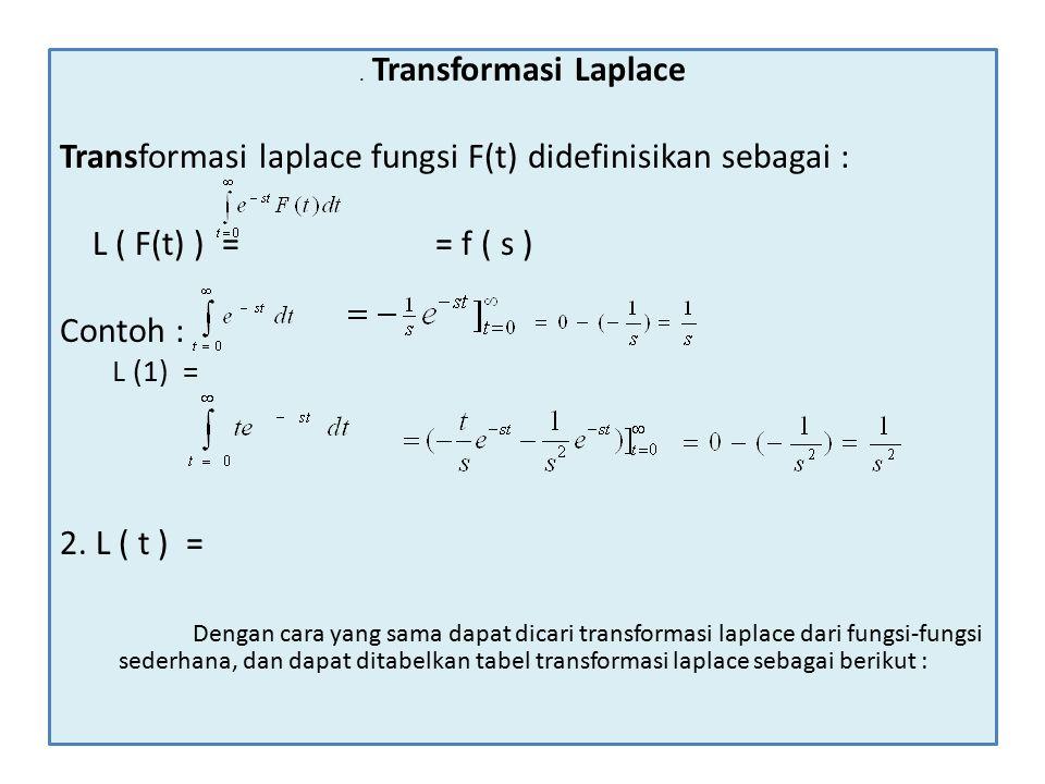 Transformasi laplace fungsi F(t) didefinisikan sebagai :