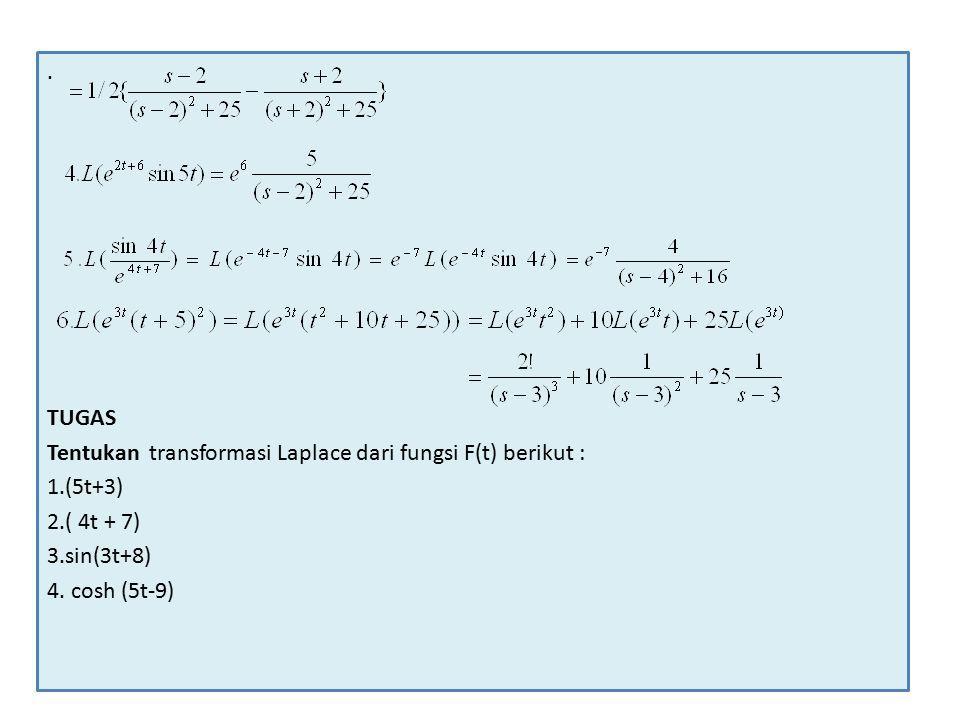 . TUGAS. Tentukan transformasi Laplace dari fungsi F(t) berikut : 1.(5t+3) 2.( 4t + 7) 3.sin(3t+8)
