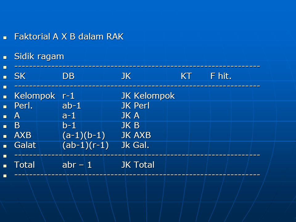 Faktorial A X B dalam RAK