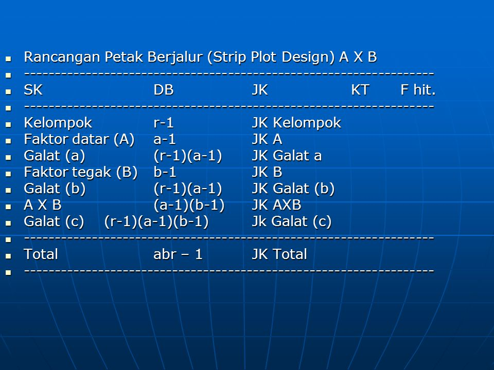 Rancangan Petak Berjalur (Strip Plot Design) A X B