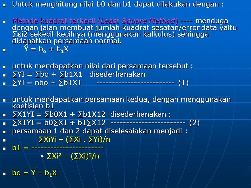 Untuk menghitung nilai b0 dan b1 dapat dilakukan dengan :