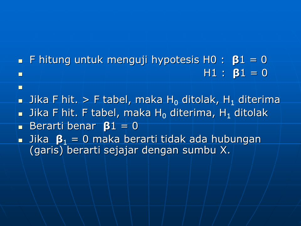 F hitung untuk menguji hypotesis H0 : β1 = 0