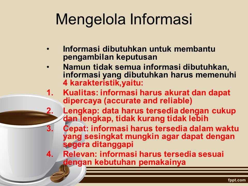 Mengelola Informasi Informasi dibutuhkan untuk membantu pengambilan keputusan.