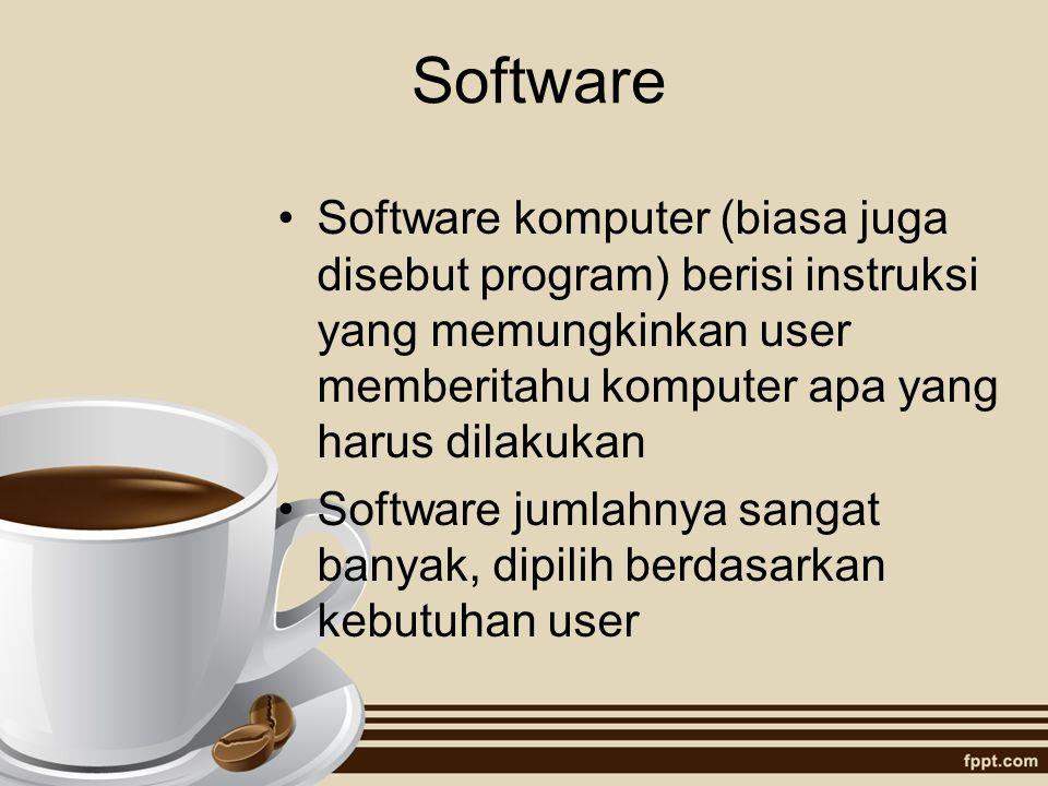 Software Software komputer (biasa juga disebut program) berisi instruksi yang memungkinkan user memberitahu komputer apa yang harus dilakukan.