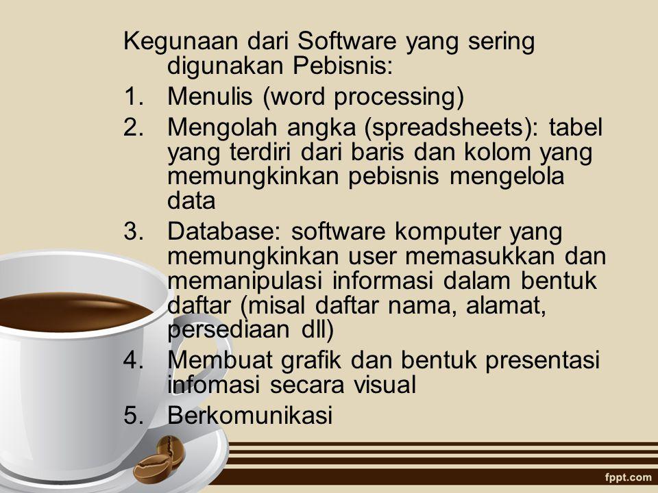 Kegunaan dari Software yang sering digunakan Pebisnis: