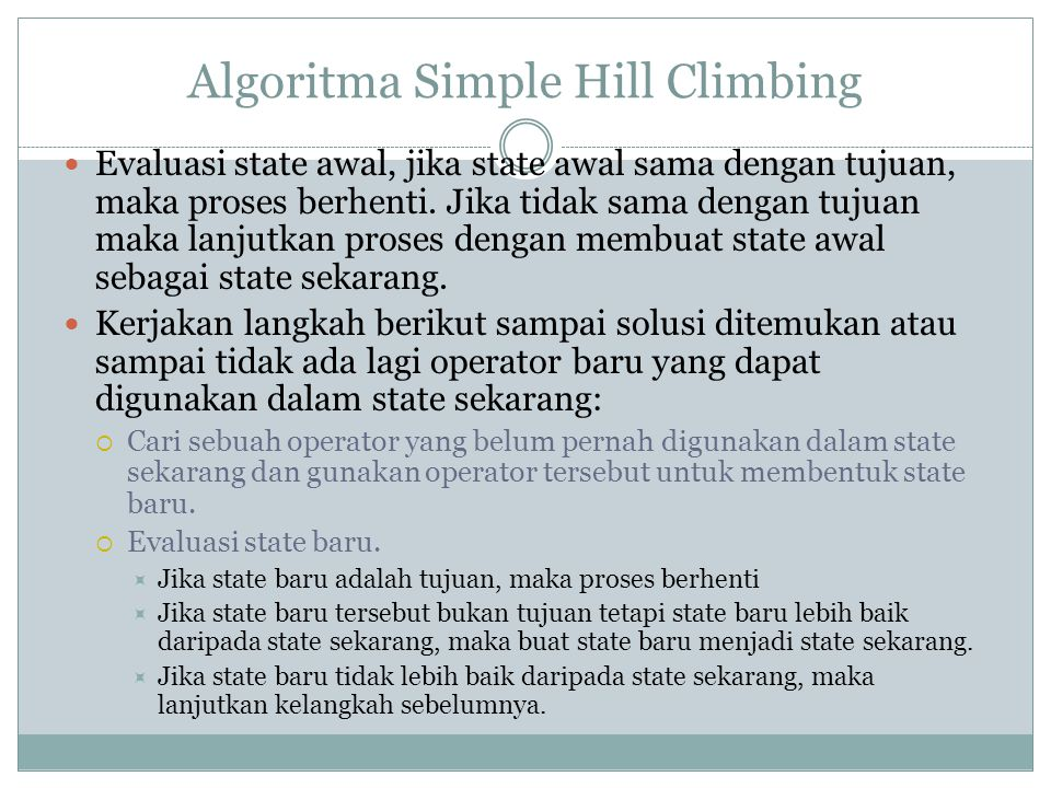 Algoritma Simple Hill Climbing