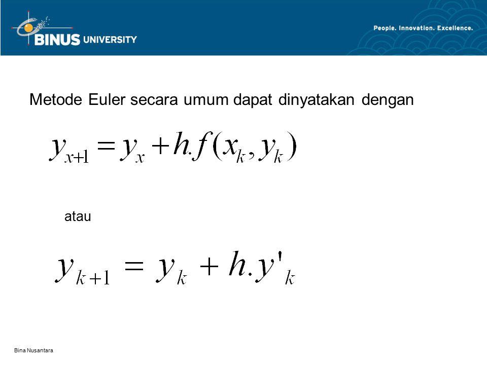 Metode Euler secara umum dapat dinyatakan dengan