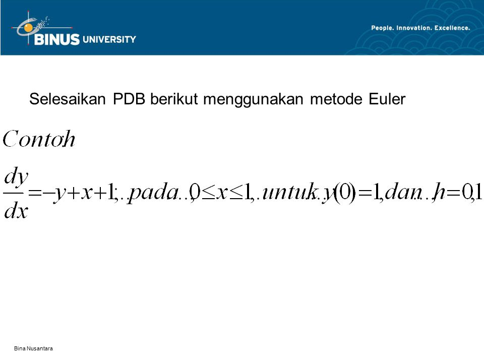 Selesaikan PDB berikut menggunakan metode Euler