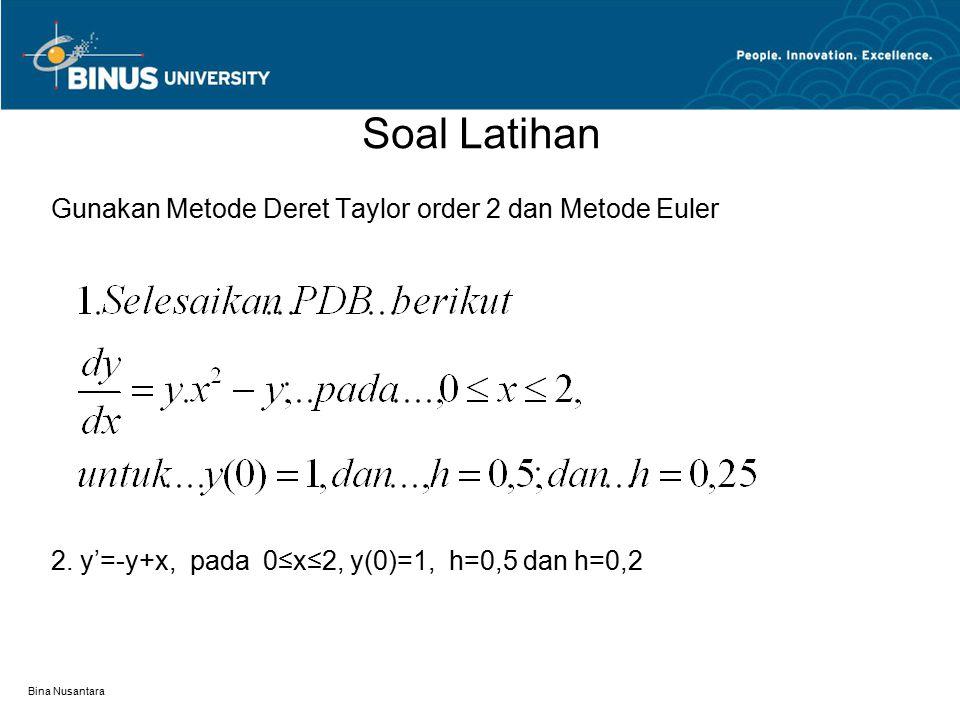 Soal Latihan Gunakan Metode Deret Taylor order 2 dan Metode Euler