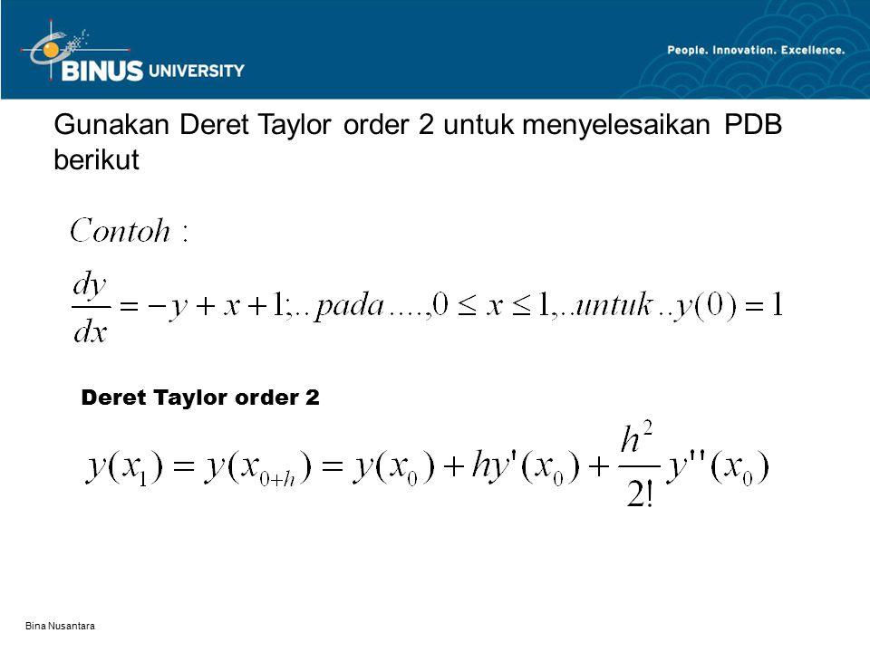 Gunakan Deret Taylor order 2 untuk menyelesaikan PDB berikut