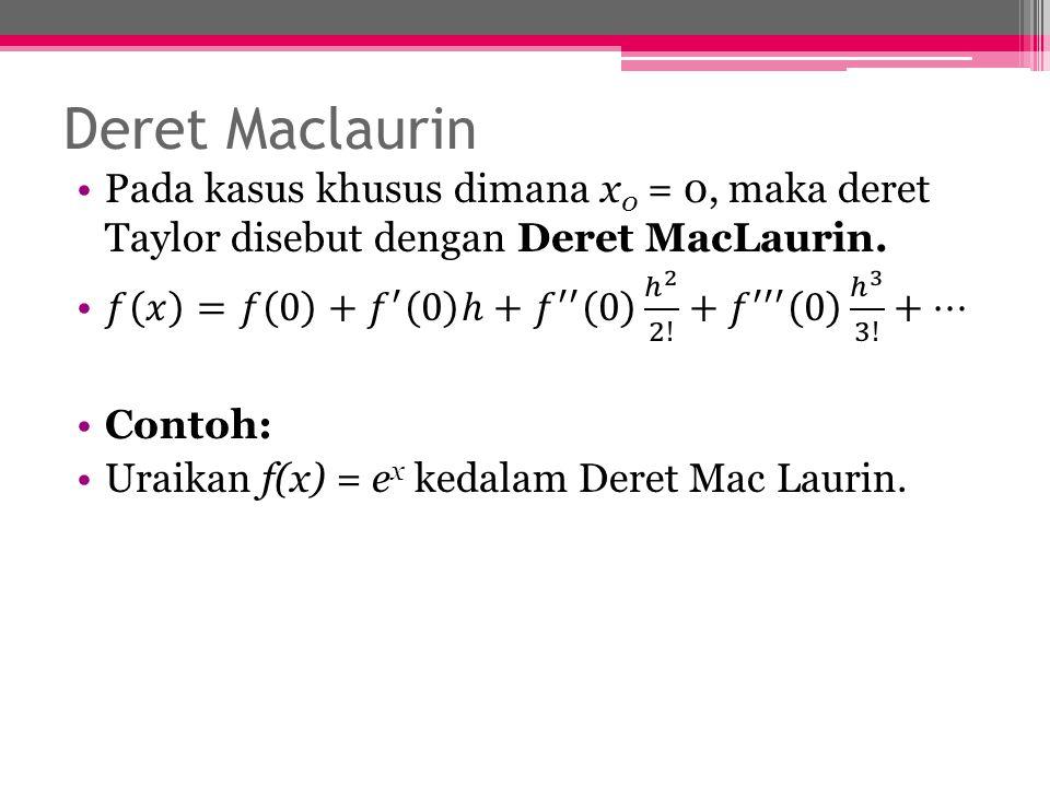 Deret Maclaurin Pada kasus khusus dimana x0 = 0, maka deret Taylor disebut dengan Deret MacLaurin.