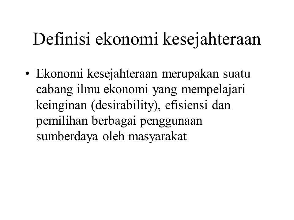 Definisi ekonomi kesejahteraan