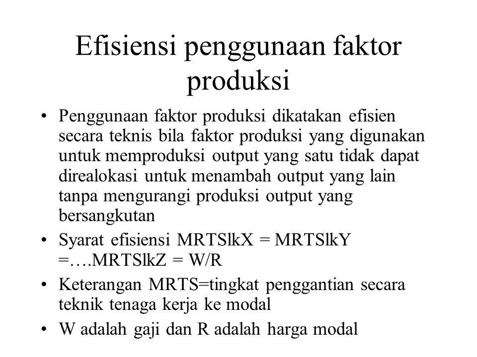 Efisiensi penggunaan faktor produksi