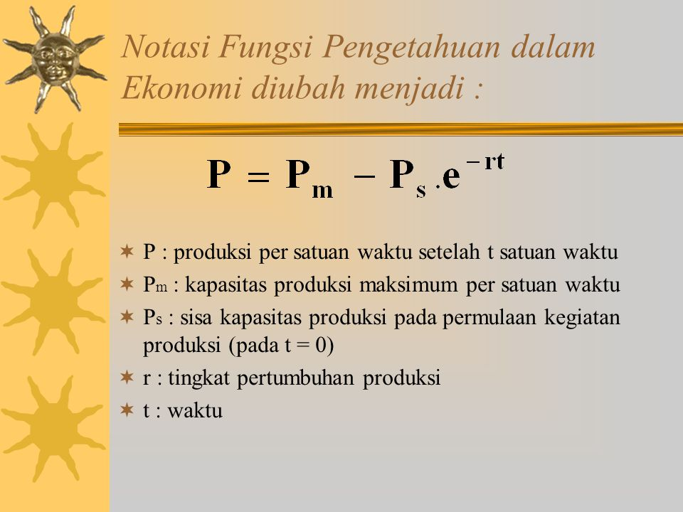 Notasi Fungsi Pengetahuan dalam Ekonomi diubah menjadi :