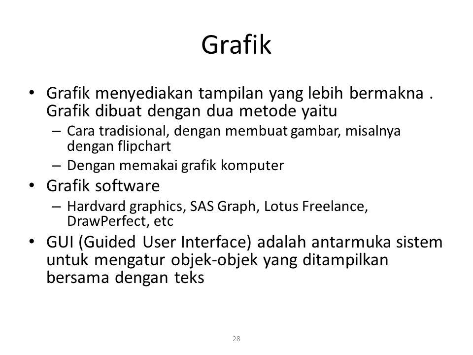 Grafik Grafik menyediakan tampilan yang lebih bermakna . Grafik dibuat dengan dua metode yaitu.