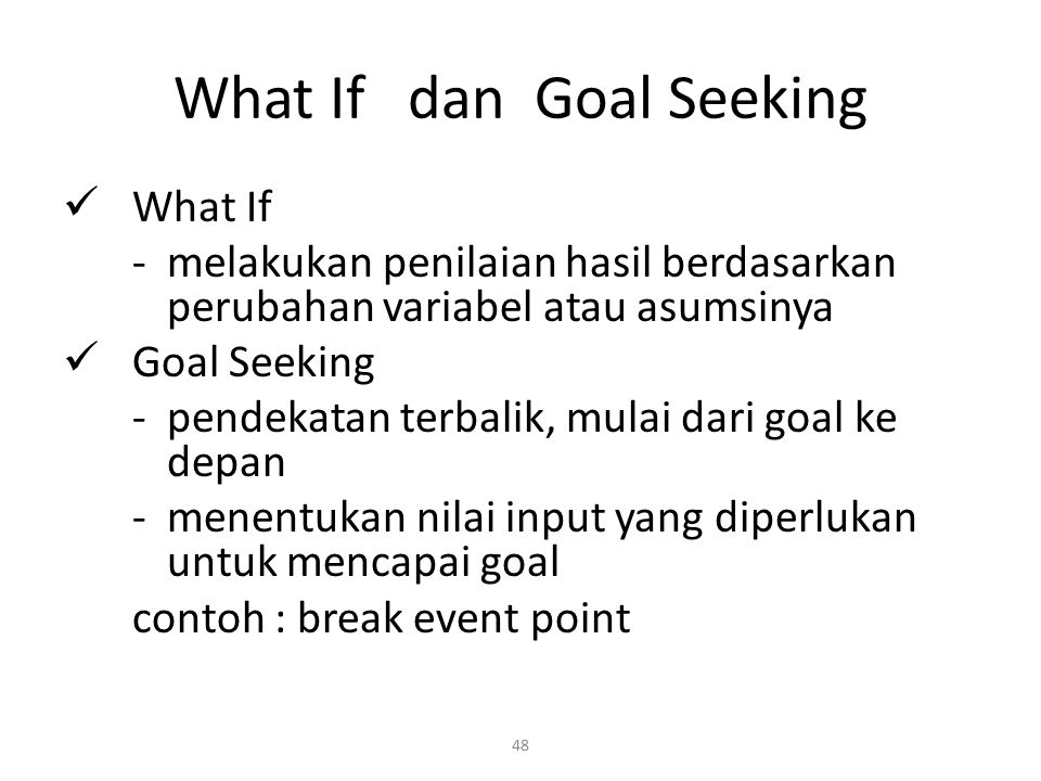 What If dan Goal Seeking