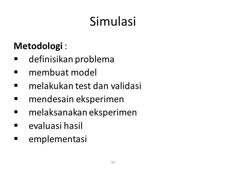 Simulasi Metodologi : definisikan problema membuat model