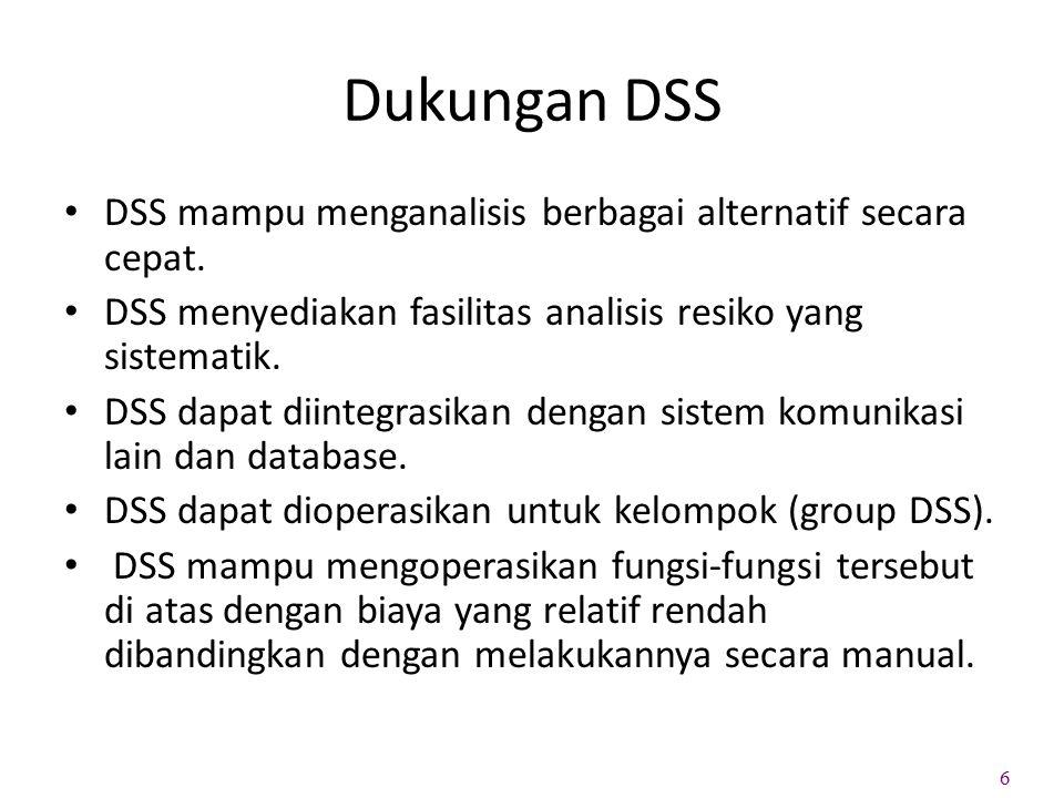 Dukungan DSS DSS mampu menganalisis berbagai alternatif secara cepat.