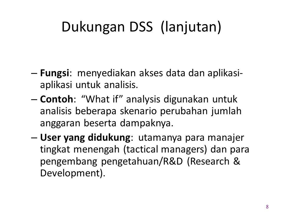 Dukungan DSS (lanjutan)