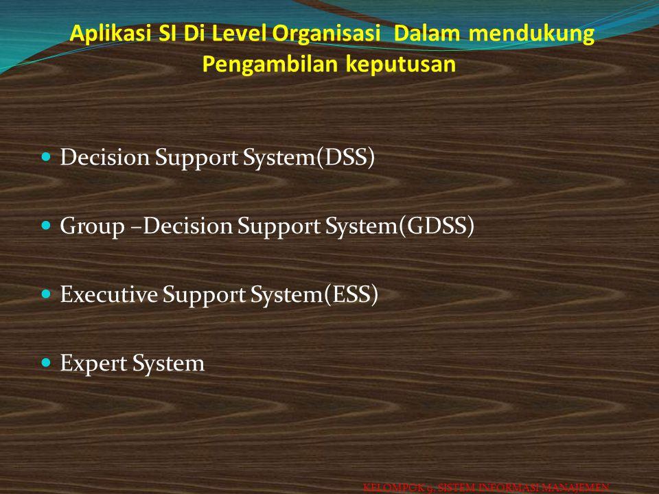 Aplikasi SI Di Level Organisasi Dalam mendukung Pengambilan keputusan
