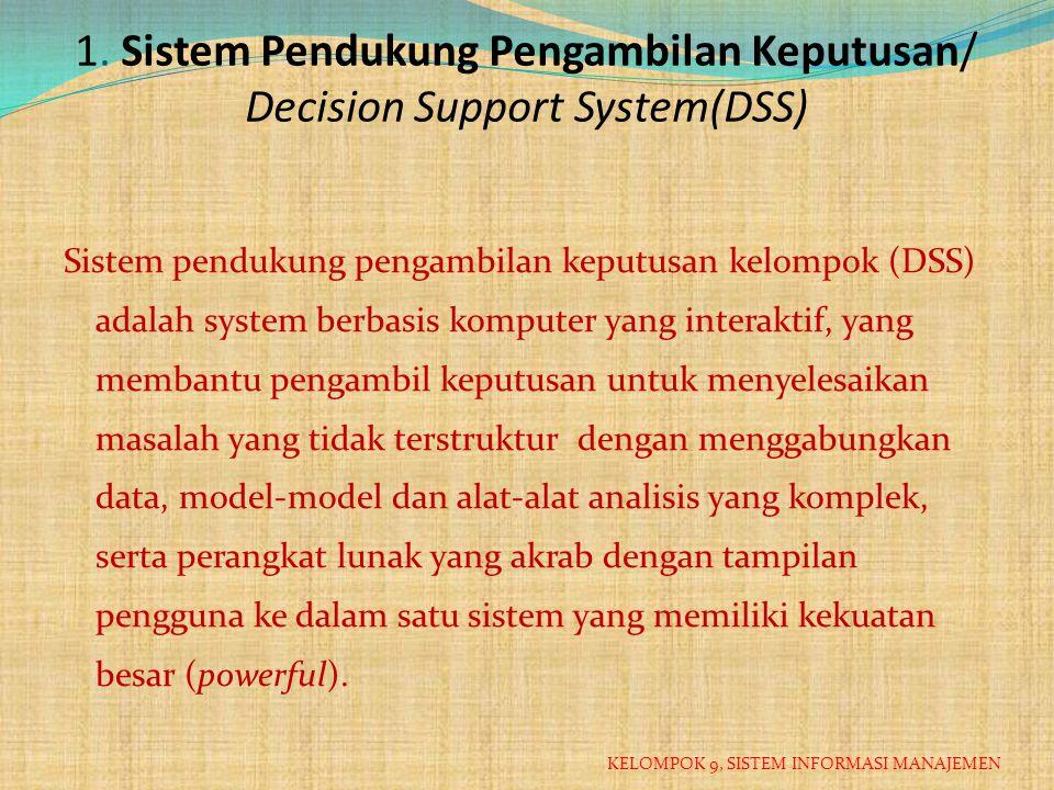 1. Sistem Pendukung Pengambilan Keputusan/ Decision Support System(DSS)