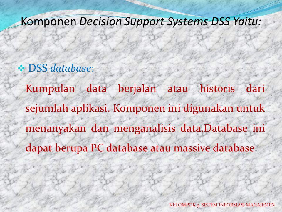 Komponen Decision Support Systems DSS Yaitu: