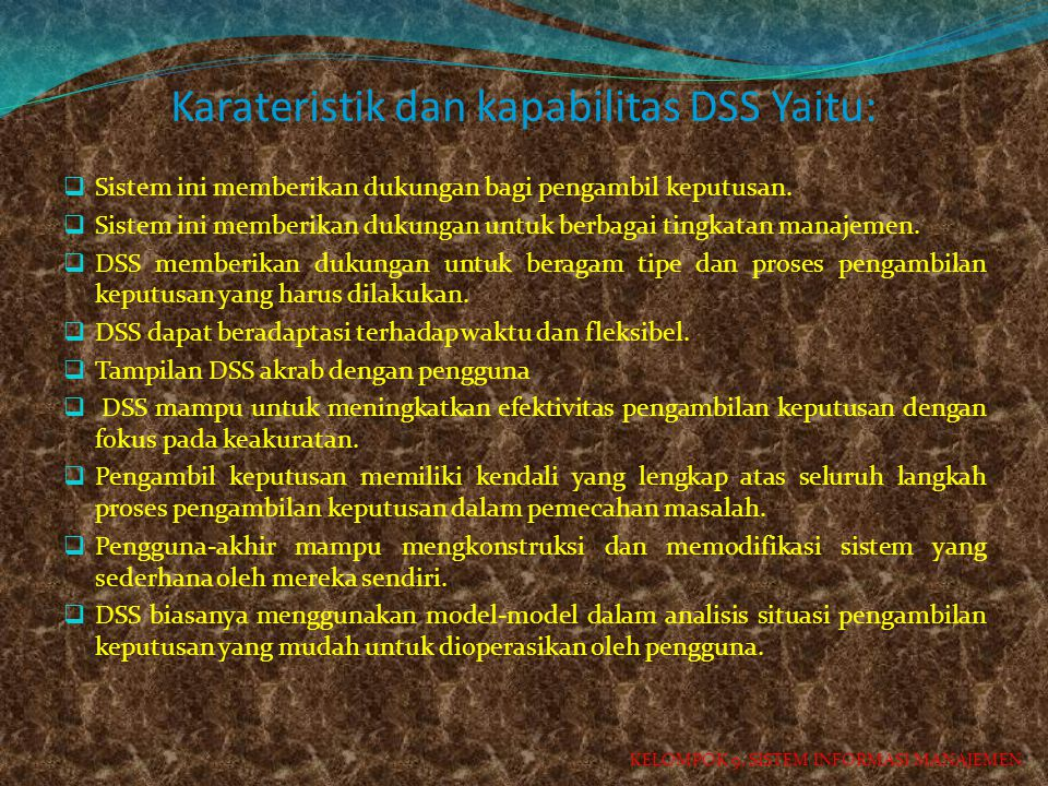 Karateristik dan kapabilitas DSS Yaitu: