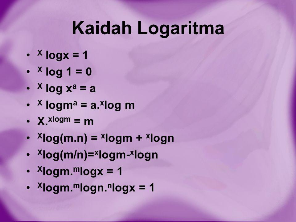 Kaidah Logaritma X logx = 1 X log 1 = 0 X log xa = a