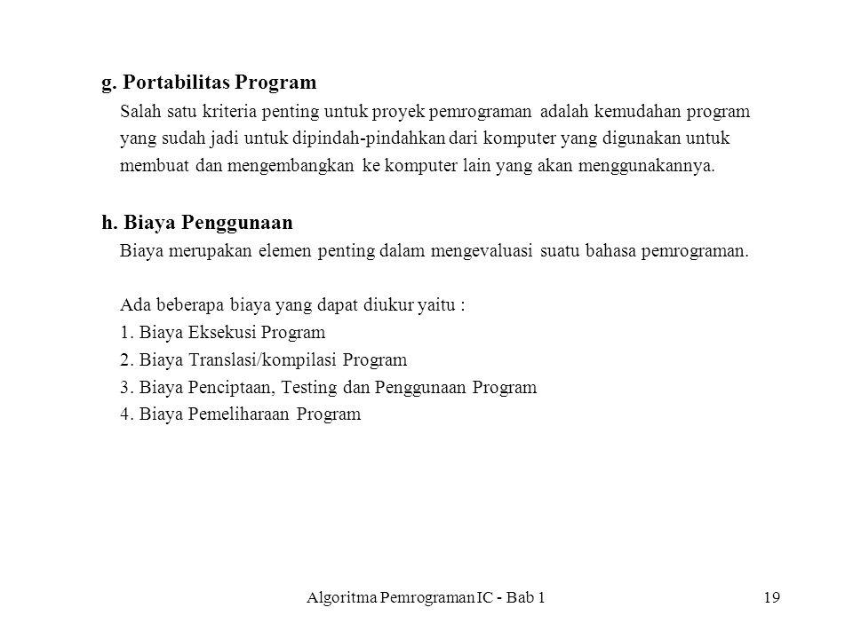 Algoritma Pemrograman IC - Bab 1
