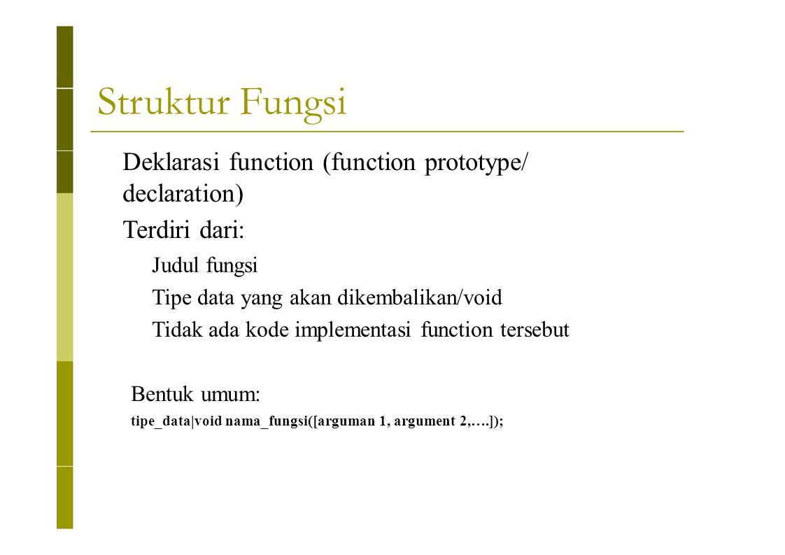 Struktur Fungsi Deklarasi function (function prototype/ declaration)