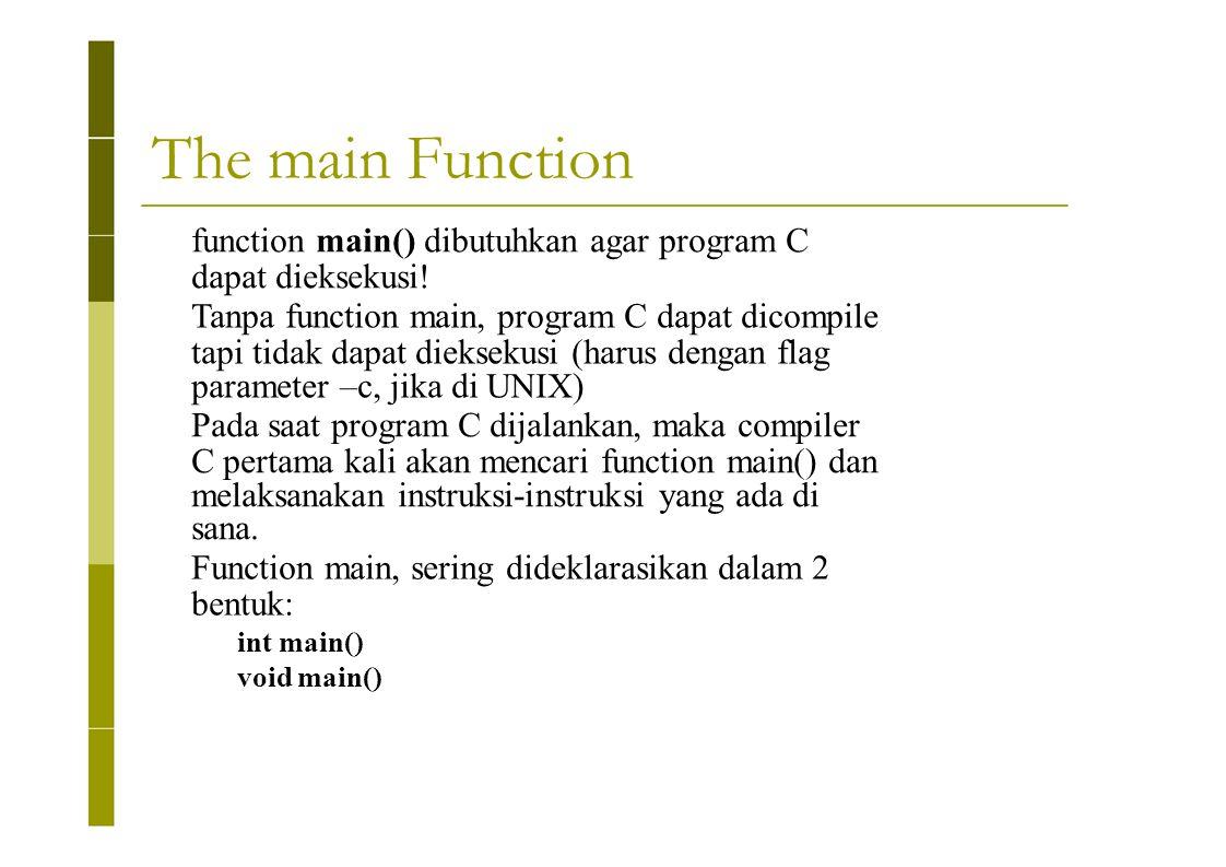 The main Function function main() dibutuhkan agar program C