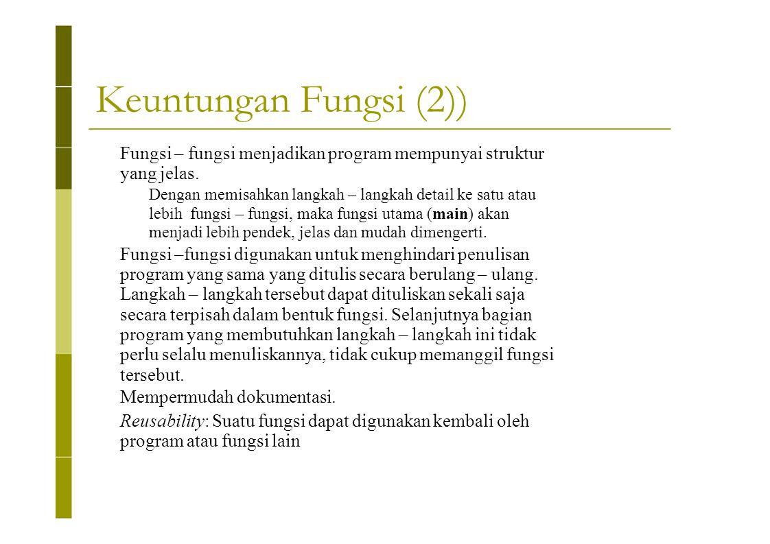 Keuntungan Fungsi (2)) Fungsi – fungsi menjadikan program mempunyai struktur. yang jelas. Dengan memisahkan langkah – langkah detail ke satu atau.