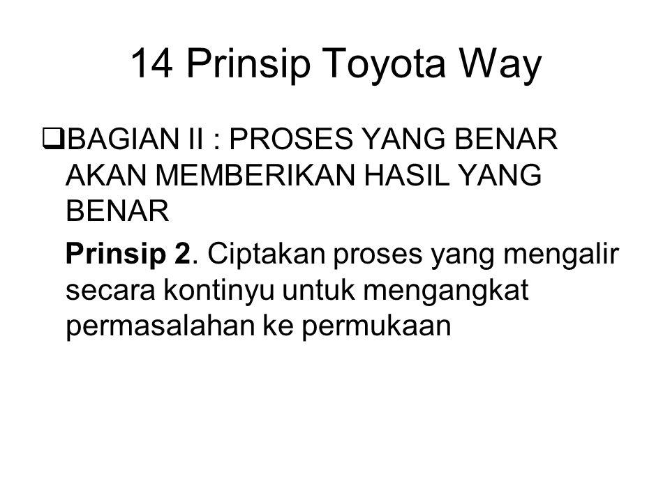 14 Prinsip Toyota Way BAGIAN II : PROSES YANG BENAR AKAN MEMBERIKAN HASIL YANG BENAR.