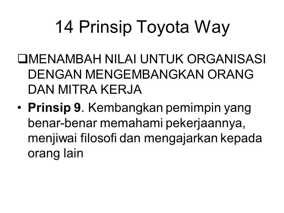 14 Prinsip Toyota Way MENAMBAH NILAI UNTUK ORGANISASI DENGAN MENGEMBANGKAN ORANG DAN MITRA KERJA.