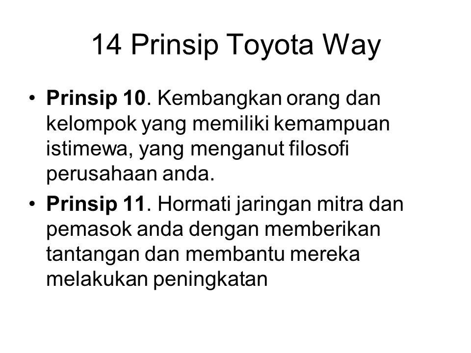 14 Prinsip Toyota Way Prinsip 10. Kembangkan orang dan kelompok yang memiliki kemampuan istimewa, yang menganut filosofi perusahaan anda.